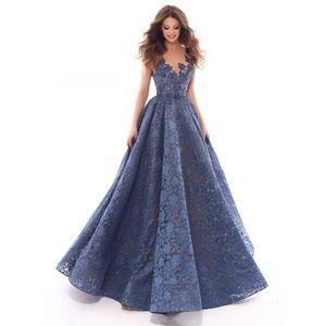 Tarik Ediz blue lace prom / evening dress